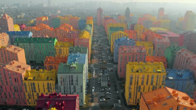 Smog-in-the-city-with-colored-buildings