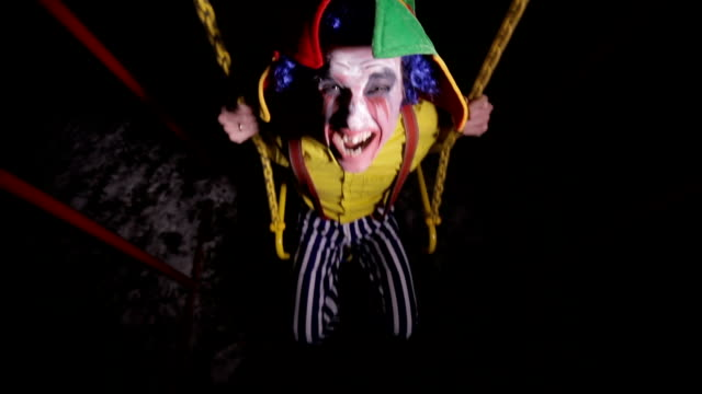 A-top-view-of-a-clown-shouting-on-a-swing-