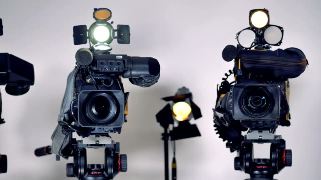 Professional-video-cameras-with-professional-external-microphones-