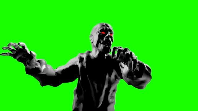 Ataque-de-zombie-sombría-con-los-brazos-abiertos-Animación-3D-del-bucle-