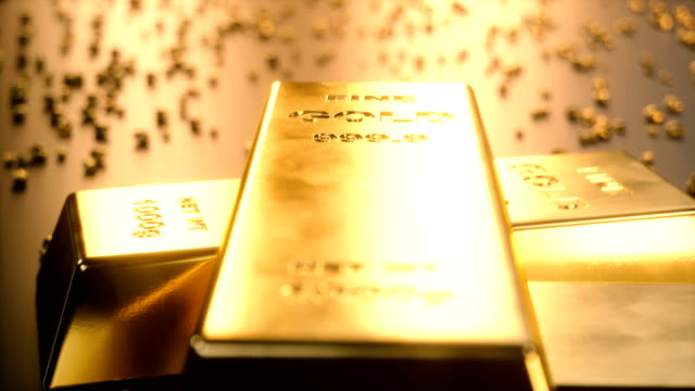 Fine-Gold-bars-1000-grams-on-the-floor-with-scattered-pieces-of-gold-Concept-of-wealth-4K-3D-Animation