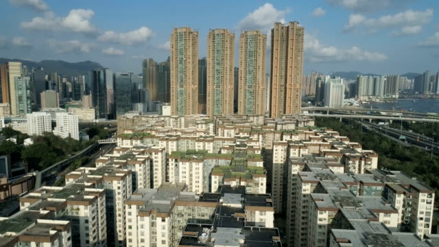 Old-buildings-and-modern-skyscraper-buildings-In-Hong-Kong-Urban-cityscape