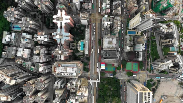4k-Aerial-direct-above-scene-of-crowded-city-in-Hong-Kong-in-Day-light