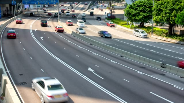 Traffic-on-multiple-lane-highway-with-motion-blur---timelapse
