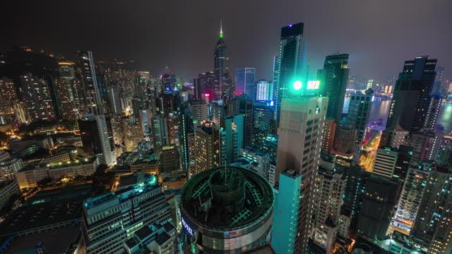 China-noche-luz-hong-kong-ocupado-edificios-azotea-superior-panorama-4k-lapso-de-tiempo