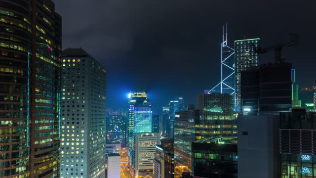 China-noche-luz-hong-kong-edificio-LED-techo-panorama-4k-lapso-de-tiempo