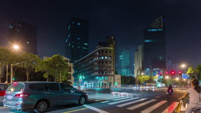 China-shanghai-Nacht-Verkehr-Straße-Straße-Kreuzung-Stadtpanorama-4k-Zeitraffer