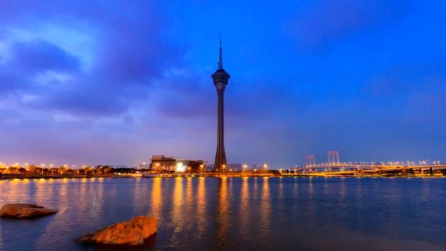 (4-Shots)-Macau-Tower-And-Macau-Bridge-Landmark-On-Dawn-Of-Macau-China-4K-Time-Lapse