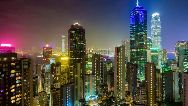 China-noche-luz-hong-kong-cityscape-edificios-modernos-en-la-azotea-panorama-4k-lapso-de-tiempo