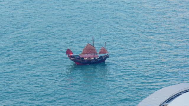 hong-kong-evening-time-famous-victoria-harbour-red-sailing-ship-panorama-4k-china