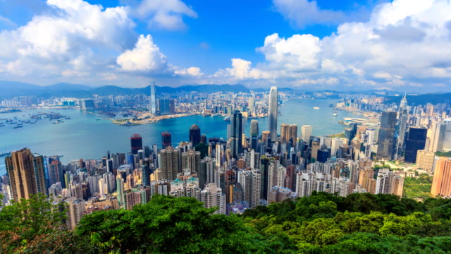 Hong-Kong-Cityscape-High-Viewpoint-Of-The-Victoria-Peak-4K-Time-Lapse-(pan-up)