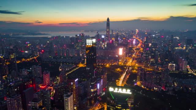 China-noche-iluminación-shenzhen-céntrico-edificio-de-KK100-paisaje-panorama-aéreo-4k-timelapse