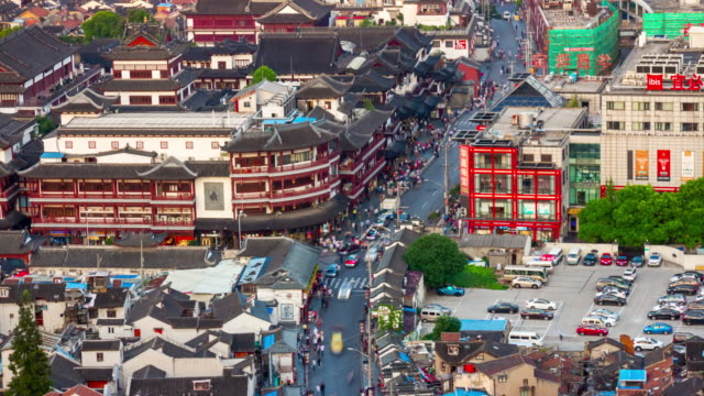 twilight-shanghai-city-old-town-traffic-street-rooftop-view-4k-timelapse-china