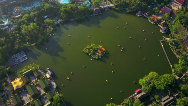 sunny-day-zhuhai-famous-new-nuanming-park-lake-aerial-panorama-4k-china