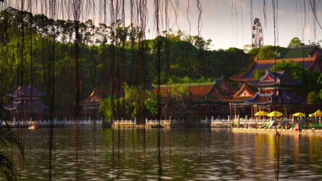 china-sunny-day-zhuhai-city-famous-park-lake-panorama-4k-timelapse