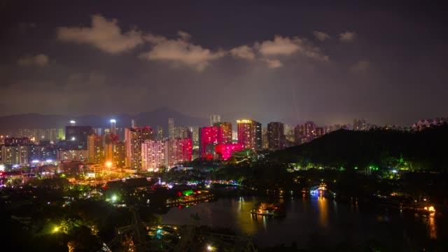 china-night-zhuhai-famous-mountain-park-top-cityscape-aerial-panorama-4k-timelapse