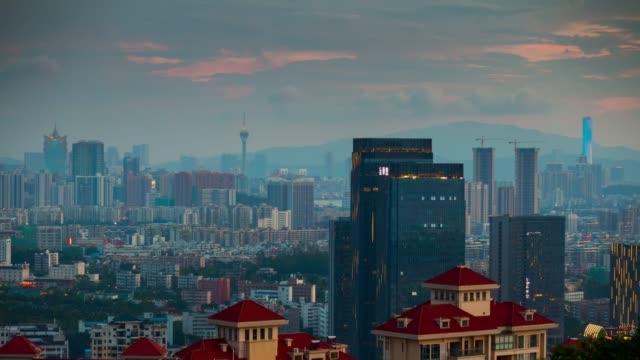 china-sunset-sky-zhuhai-famous-mountain-park-top-cityscape-aerial-panorama-4k-timelapse