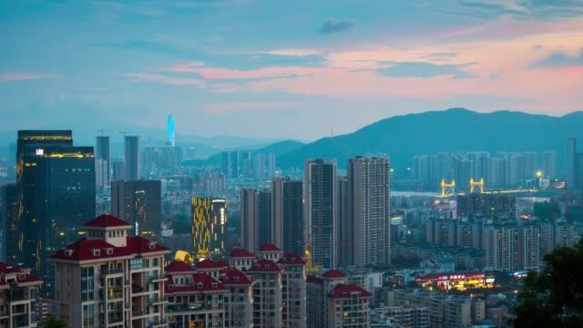 china-twilight-zhuhai-famous-mountain-park-top-cityscape-aerial-panorama-4k-timelapse