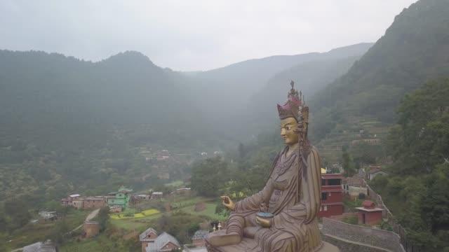 View-of-Statue-Temple-of-Guru-Padmasambhava-Kathmandu-valley-Nepal---October-16-2017