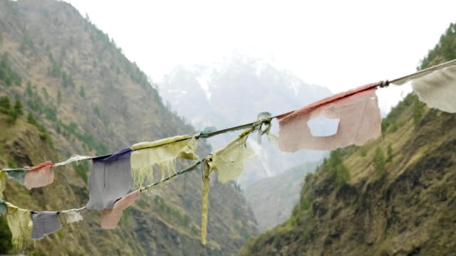 Colored-flags-in-the-mountains-of-Nepal-Manaslu-area-