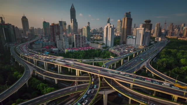 china-shanghai-city-traffic-road-junction-roof-top-panorama-4k-time-lapse
