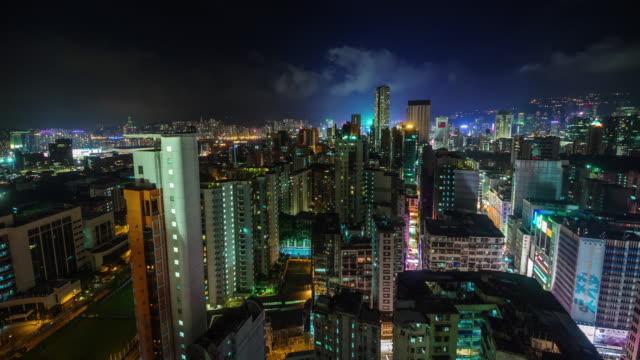 china-nigh-light-hong-kong-city-roof-top-panorama-4k-time-lapse