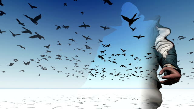 Flock-of-birds-flying-across-the-screen-3D-animation-and-rendering