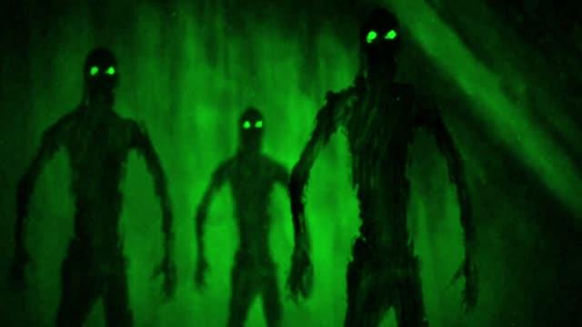 Angriff-der-Zombies-in-Grab-Grüner-Hintergrund