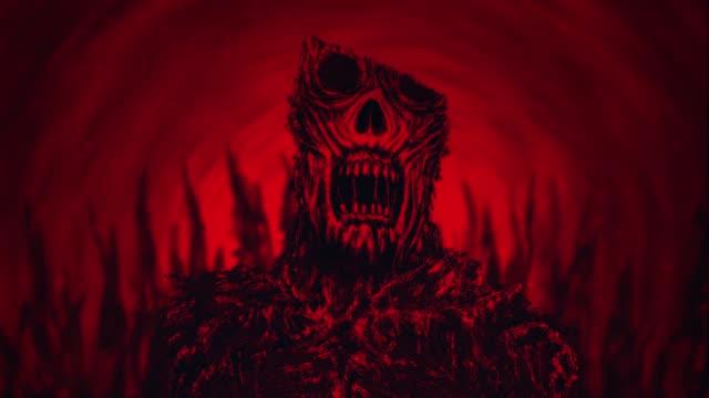 Demonio-de-miedo-en-paisaje-infernal-