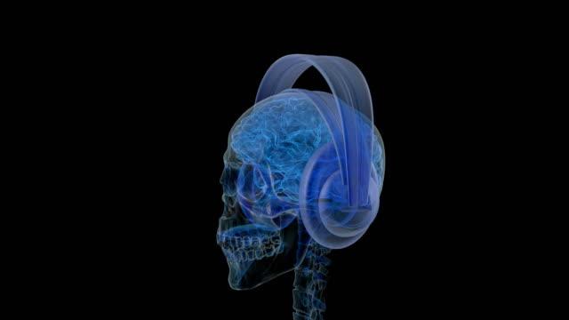 Röntgen-Blick-auf-die-Seite-des-Kopfes-mit-Kopfhörer-auf-