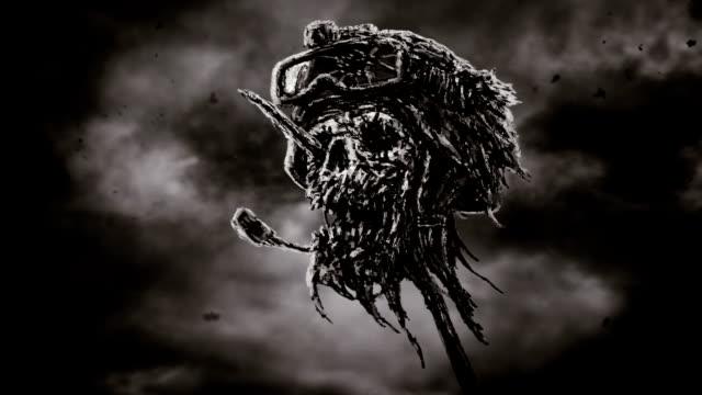 Muerto-soldado-cabeza-casco-en-perno-de-metal-