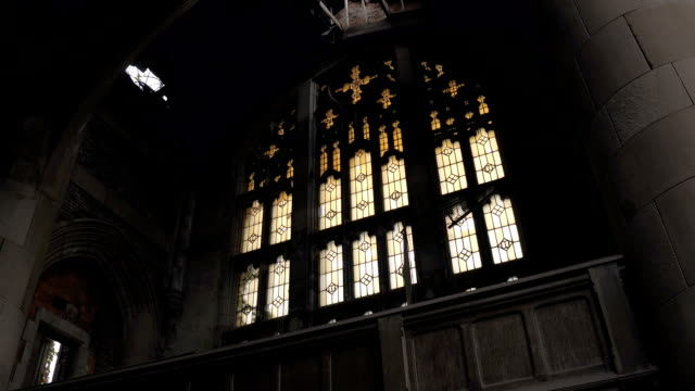 CLOSE-UP:-Imposing-ruined-gothic-chapel-in-abandoned-Methodist-Church-Gary