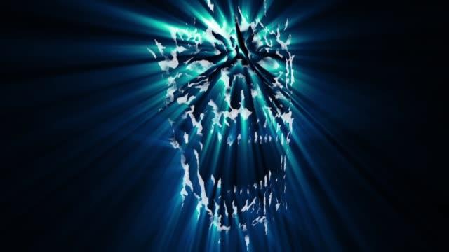 Gruselige-Dämon-blauen-Kopf-animation