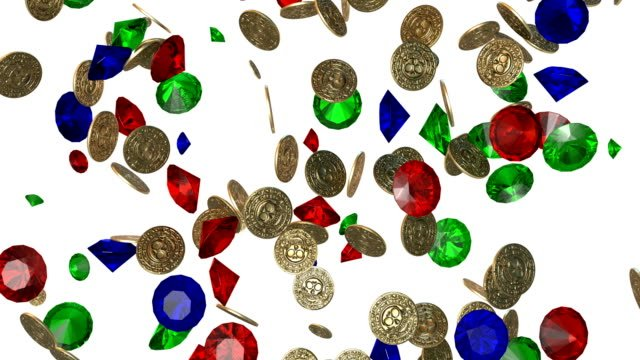 Rain-of-vintage-gold-coins-and-jems-3D-render