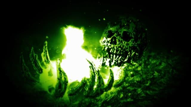 Quema-de-huesos-humanos-Fondo-verde
