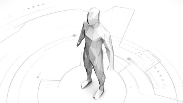 Humano-virtual-hecho-de-estilo-futurista-polígono---efecto-de-falla-