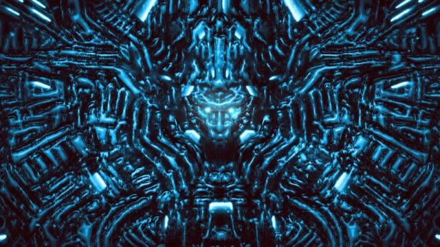 Pared-electrónica-con-bajorrelieve-y-cabeza-de-robot-sobresaliente-Lámparas-y-mecanismos-brillantes-bajo-el-agua-