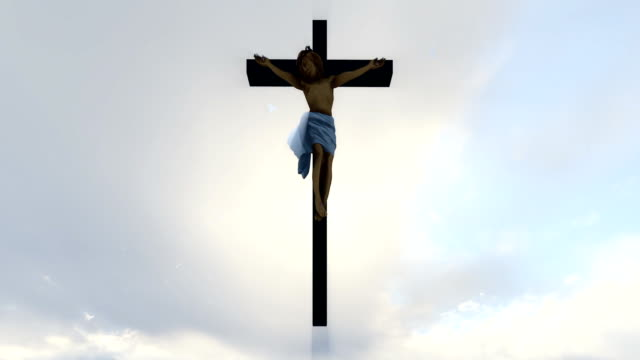 Jesus-cross-against-heavenly-white-sky-with-pigeons-flying