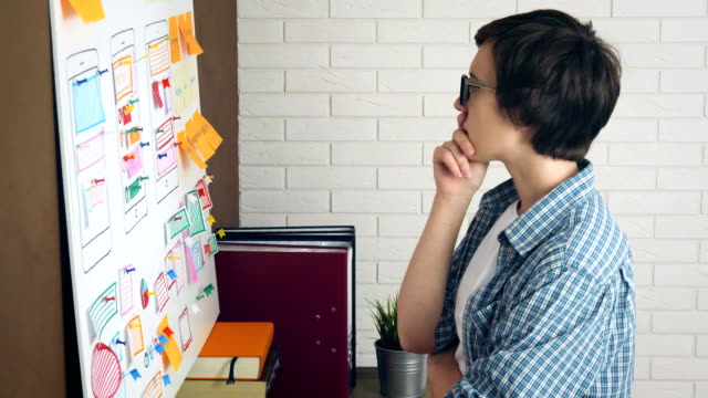 Frustrated-and-stressed-female-UX-designer-struggle-for-new-project-ideas-banging-his-head-standing-at-whiteboard-in-the-office