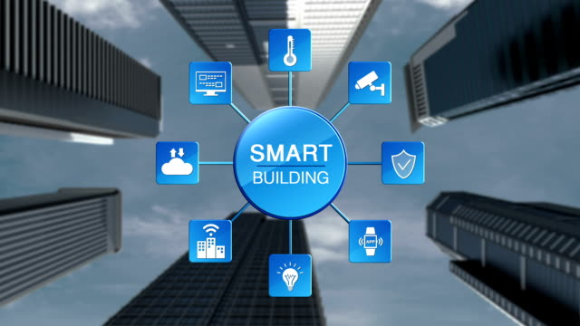 Intelligent-Smart-building-and-information-graphic-icon-energy-saving-Making-steel-frame-and-construction-building-Panning-camera-Low-view-2-