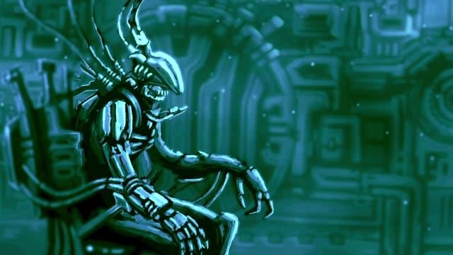Alien-astronauta-se-sienta-en-la-silla-de-la-gestión