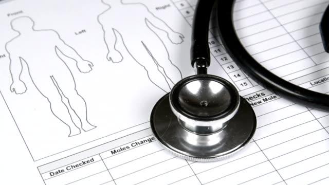 Stethoscope-rotating-clockwise-on-medical-chart-