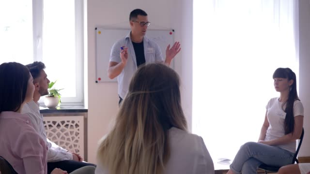 psicólogo-masculino-realiza-formación-para-los-jóvenes-durante-Reunión-psicológico-sobre-fondo-de-junta-con-la-palabra---motivaciones