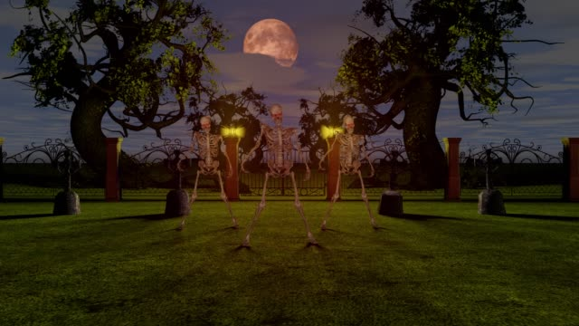 Dancing-skeletons-in-the-cemetery-at-night-Halloween-concept-