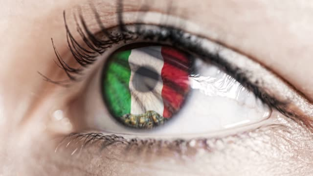 woman-green-eye-in-close-up-with-the-flag-of-Italy-in-iris-with-wind-motion-video-concept