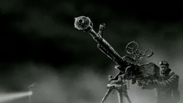 Un-soldado-dispara-una-ametralladora-pesada-en-una-multitud-de-atacar-a-los-zombis-
