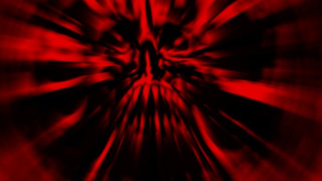 Der-rote-Kopf-des-Monsters-mit-einem-zerrissenen-Gesicht-