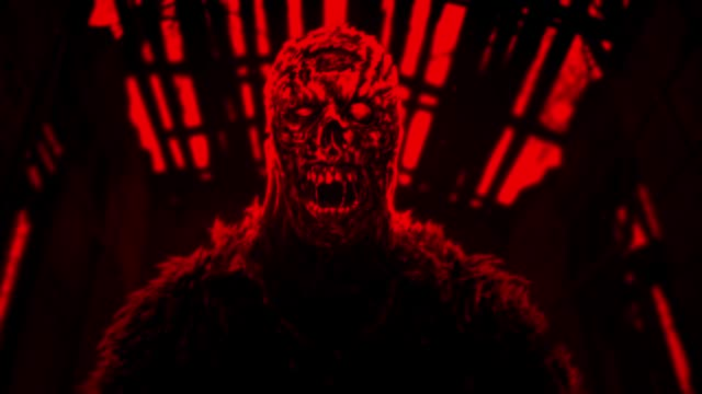 Animación-de-zombie-enojado-Color-rojo