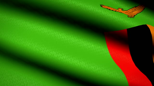 Zambia-Flag-Waving-Textile-Textured-Background-Seamless-Loop-Animation-Full-Screen-Slow-motion-4K-Video
