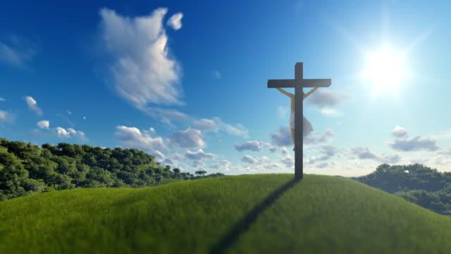 Jesús-en-cruz-sobre-el-cielo-azul-el-concepto-de-religión